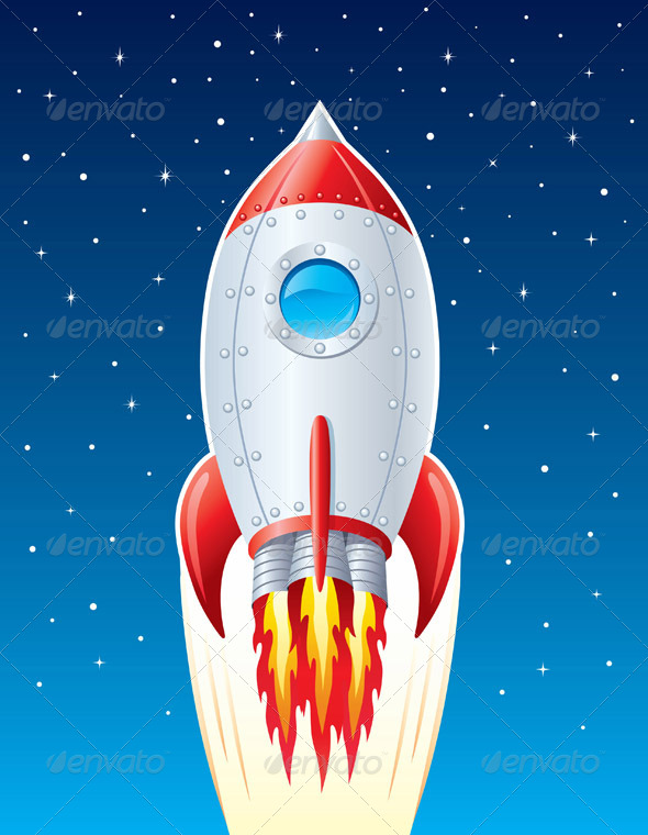 GraphicRiver Rocket Ship Blasting Up Though Space 8318602