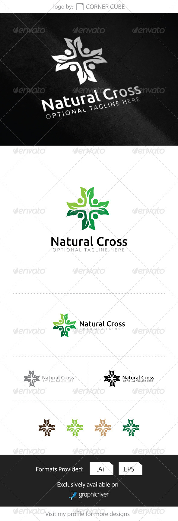GraphicRiver Natural Cross Logo 8318964