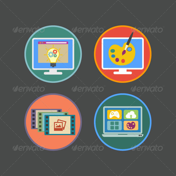 Flat Icons for Multimedia Services