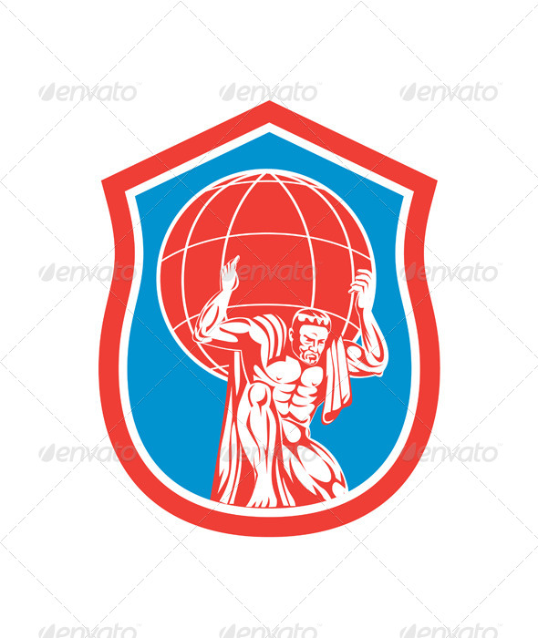 GraphicRiver Atlas Carrying Globe on Front Shield 8319065