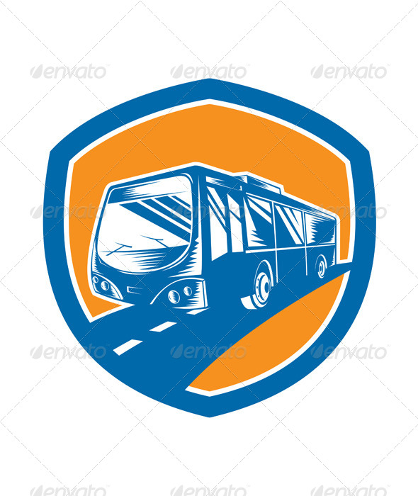 GraphicRiver Tourist Coach Shuttle Bus Shield Woodcut 8319137