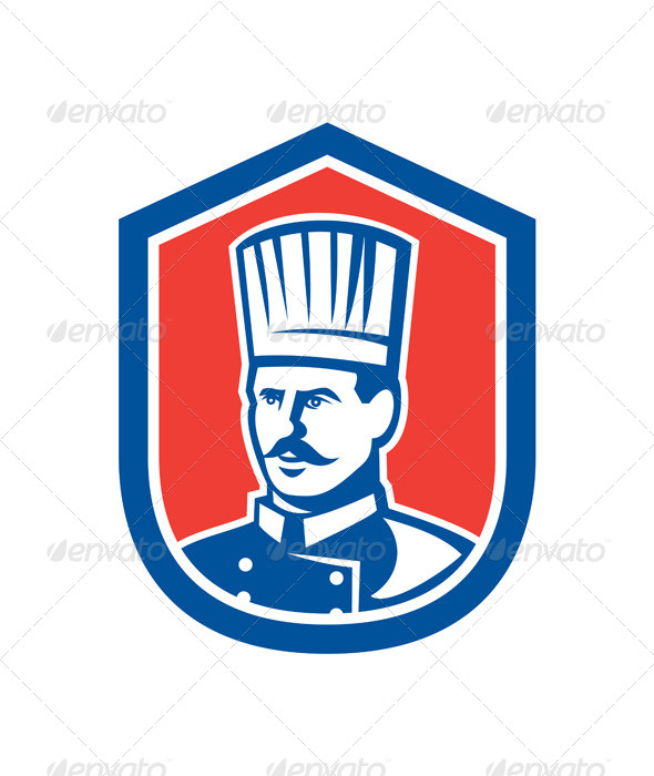 GraphicRiver Chef Cook Baker Shield Retro 8319141
