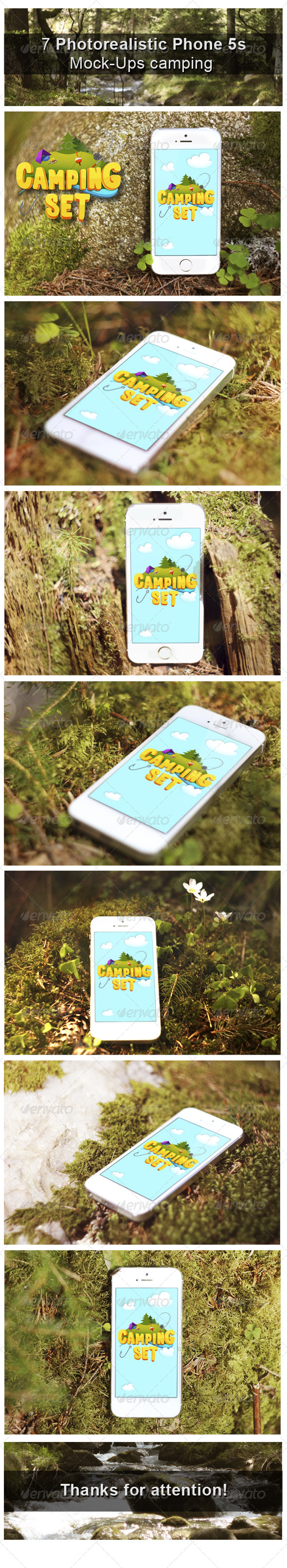 GraphicRiver Camping Phone Mock-Up 8295782