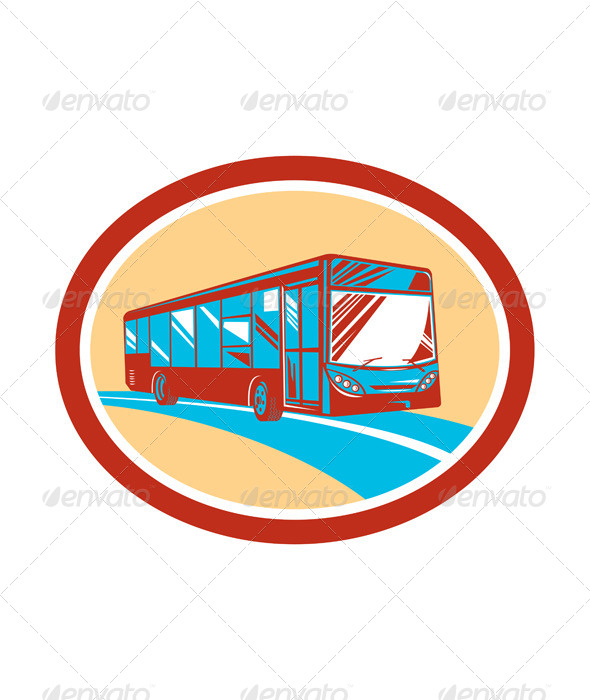 GraphicRiver Tourist Coach Bus Oval 8319146