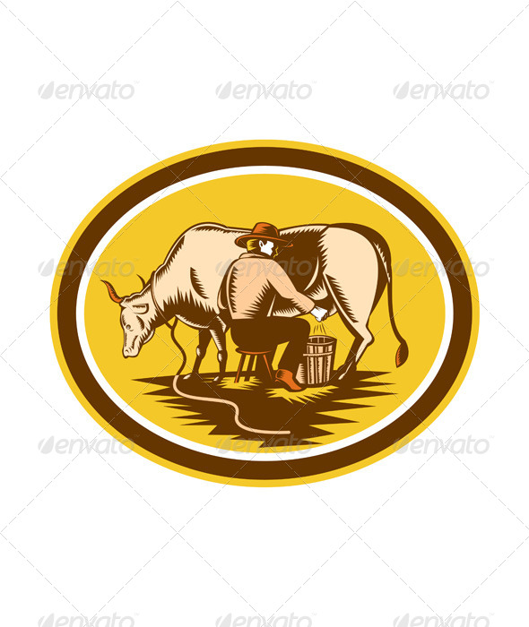 Farmer Milking Cow Oval Woodcut