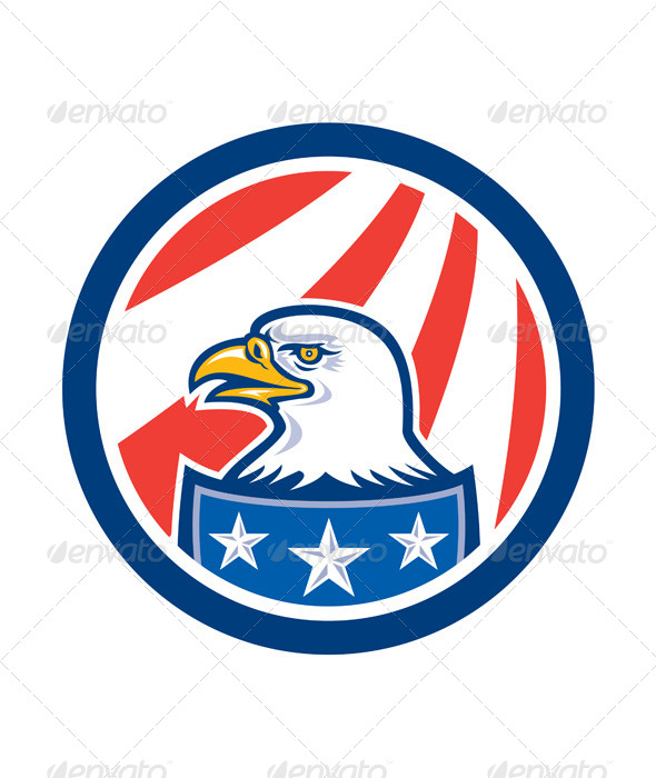 GraphicRiver American Bald Eagle Head Flag Circle Retro 8319173