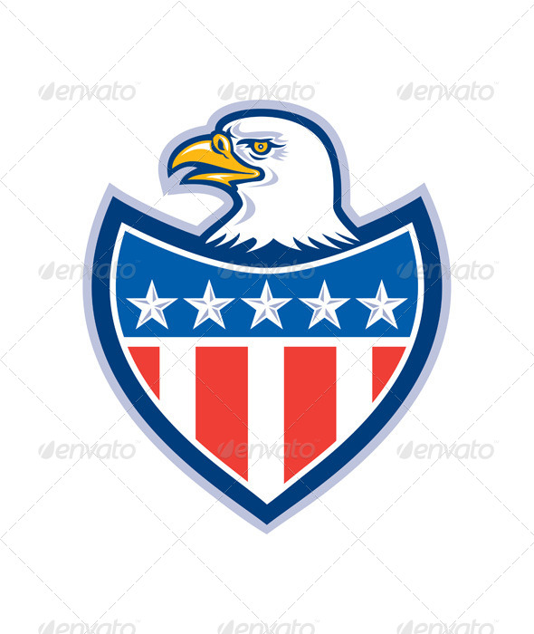 GraphicRiver American Bald Eagle Retro Flag Shield 8319176
