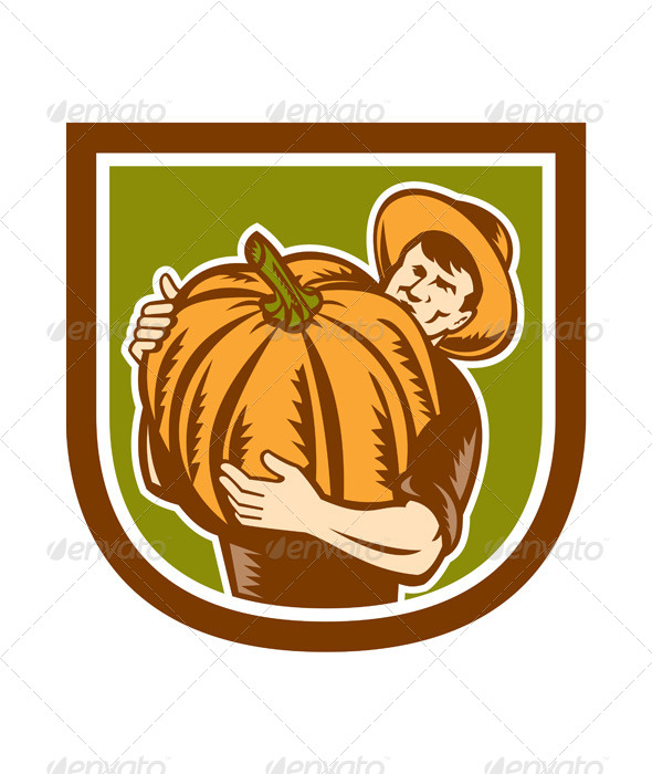 GraphicRiver Organic Farmer Holding Pumpkin Retro Shield 8319181
