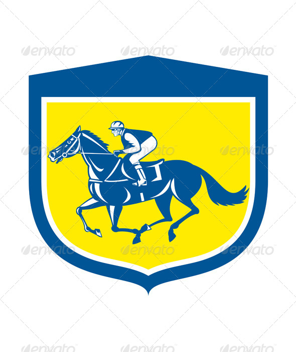 GraphicRiver Jockey Horse Racing Retro Shield 8319188