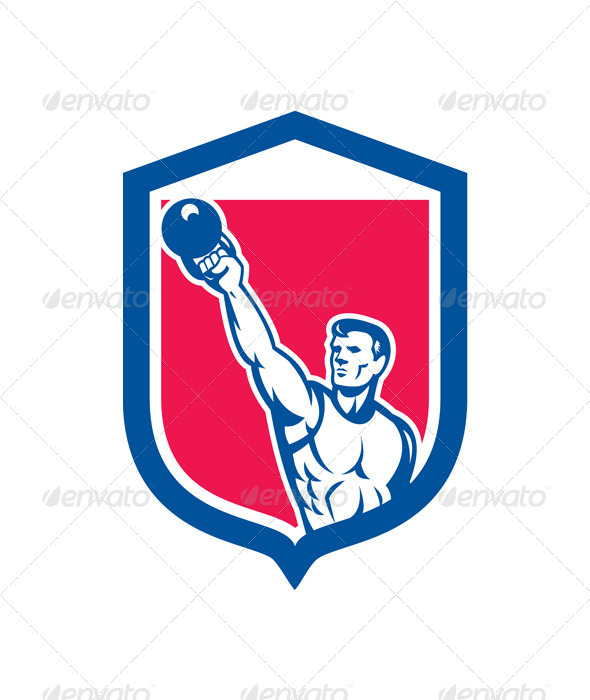 GraphicRiver Weightlifter Lifting Kettlebell Retro Shield 8319191