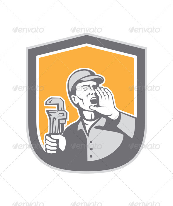 GraphicRiver Plumber Shouting Holding Wrench Retro Shield 8319210