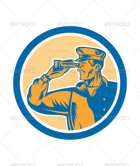 GraphicRiver Fisherman Sea Captain Binoculars Retro Circle 8319253