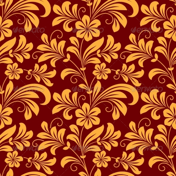 GraphicRiver Yellow Colored Floral Seamless Pattern 8319460