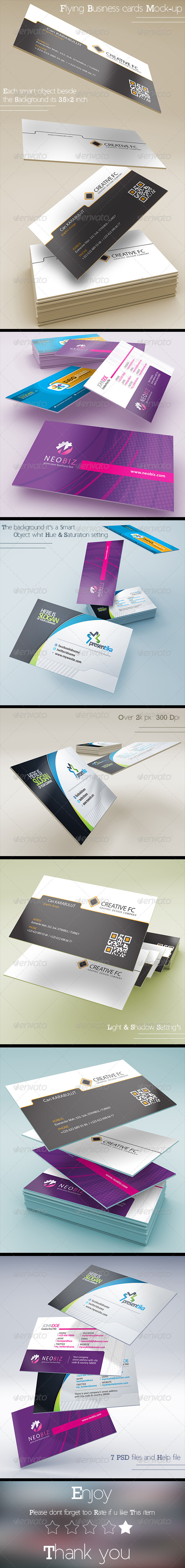 GraphicRiver Flying Business Card Mock-up 8319543