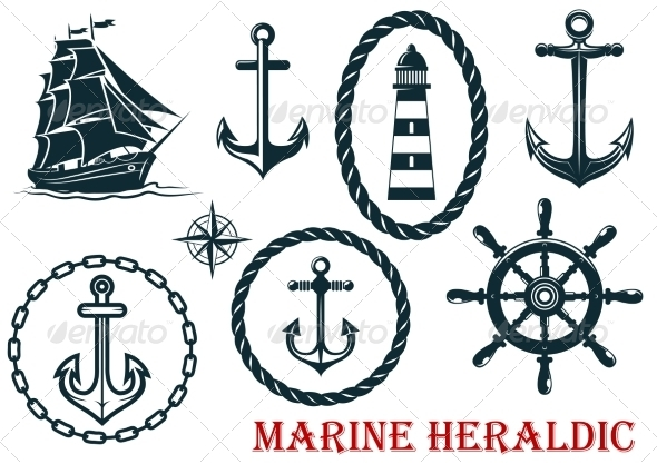GraphicRiver Marine and Nautical Heraldic Elements 8319712