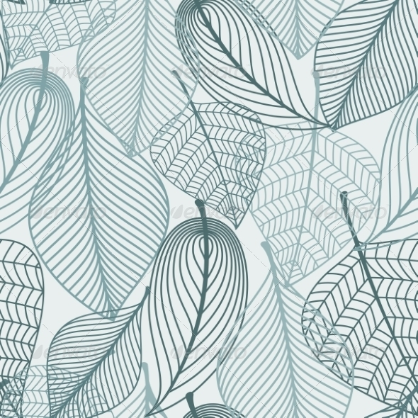 GraphicRiver Delicate Skeleton Leaves Seamless Pattern 8319720