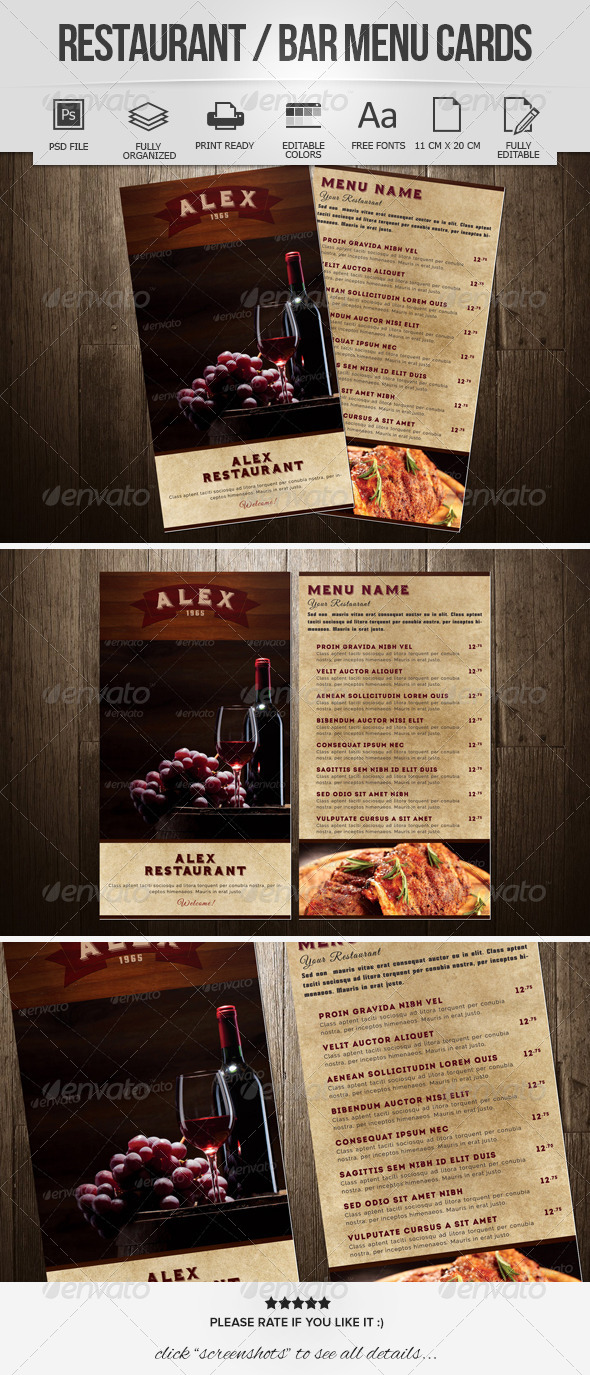 GraphicRiver Restaurant Bar Menu Cards 8319843