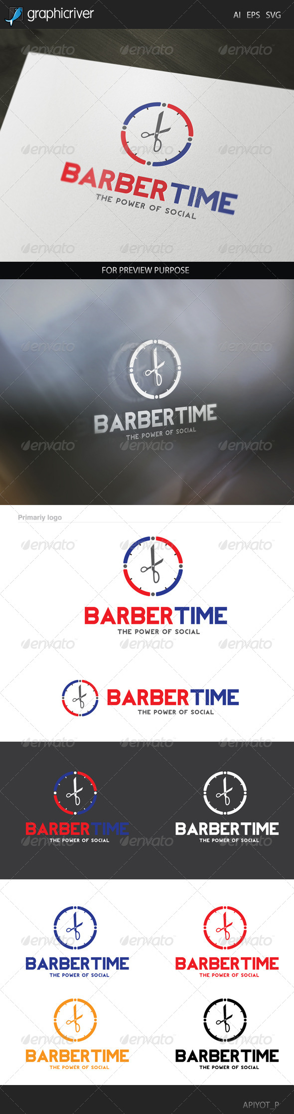 GraphicRiver Barber Time Logo 8320030