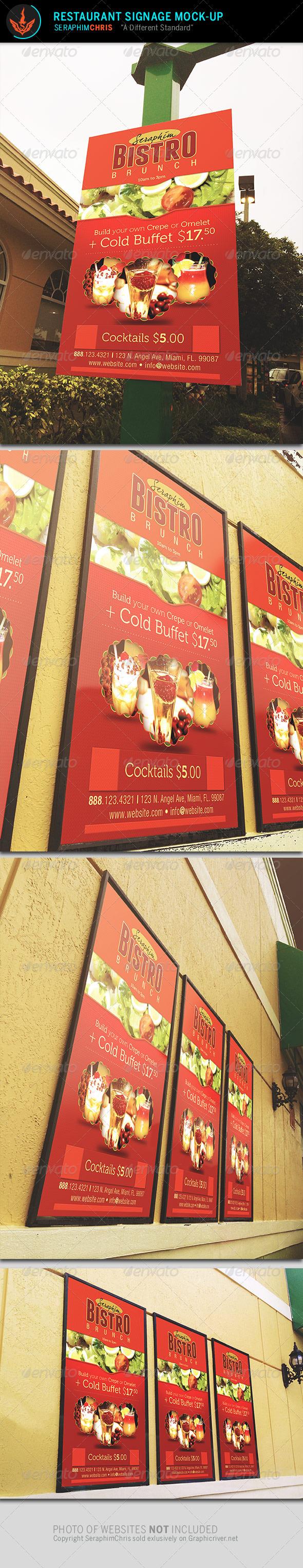 GraphicRiver Restaurant Signage Mock Up Template 8320041