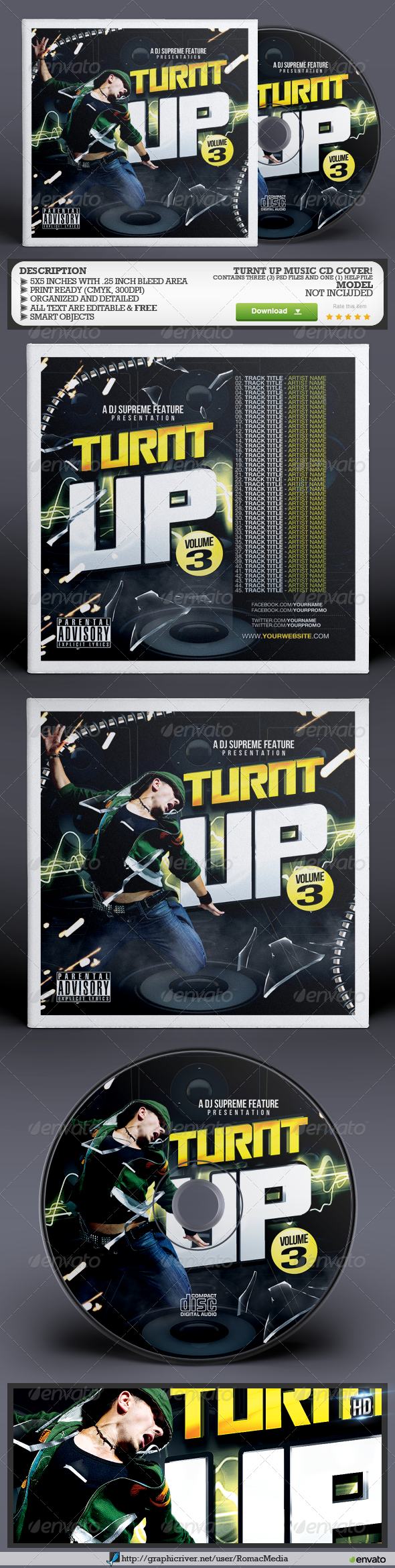 GraphicRiver Turnt up Music CD Cover 8320056