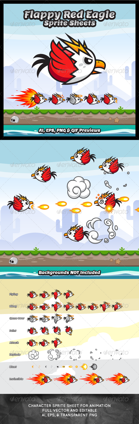 GraphicRiver Flappy Red Eagle Game Character Sprite Sheets 8320235