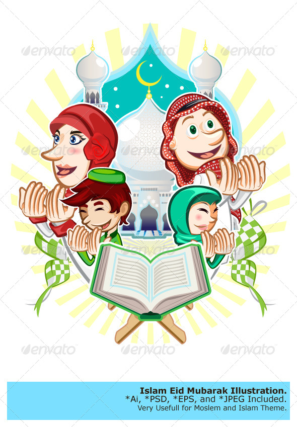 GraphicRiver Islam Eid Mubarak Greeting Card Illustration 8320074