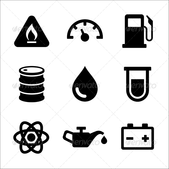 GraphicRiver Gasoline Diesel Fuel Service Station Icons Set 8320267