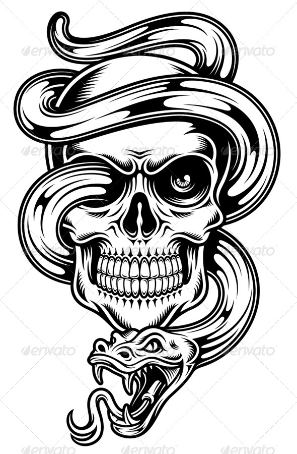 GraphicRiver Skull With Snake 8320428