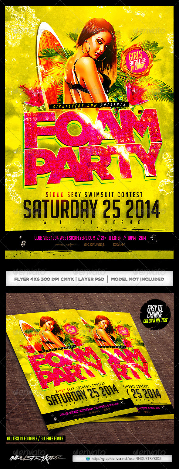 Foam Party Flyer Template PSD - Clubs & Parties Events