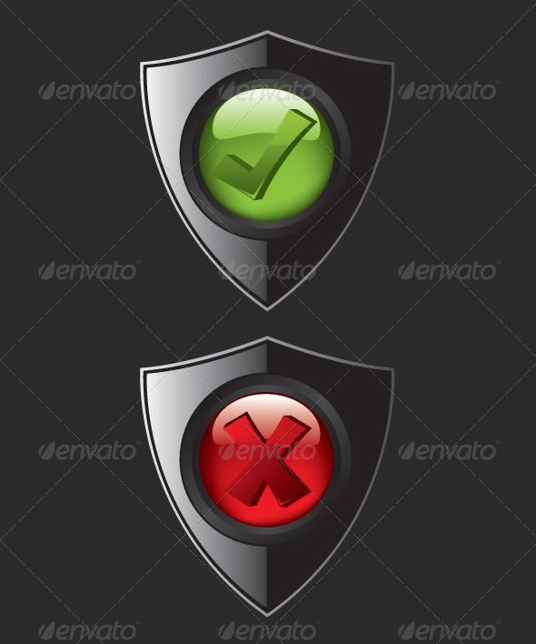 GraphicRiver Black Shield Check Mark Icons 8321252