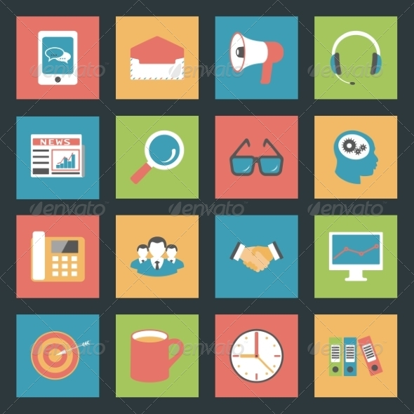 GraphicRiver Marketing Flat Icons Set 8321727