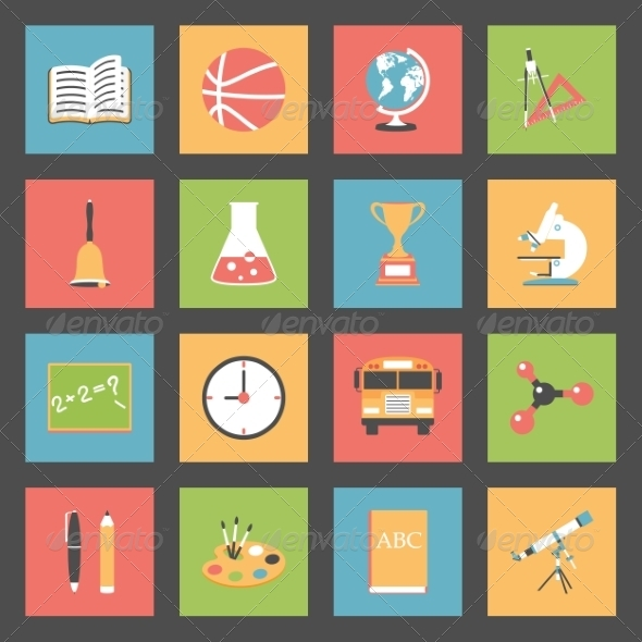 GraphicRiver School Flat Icons Set 8321769