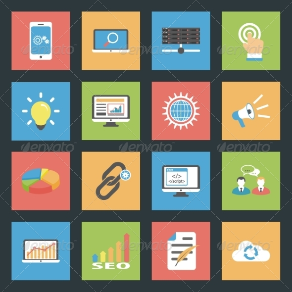GraphicRiver Seo Flat Icons Set 8321772