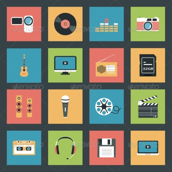 GraphicRiver Multimedia Icons Set 8321786