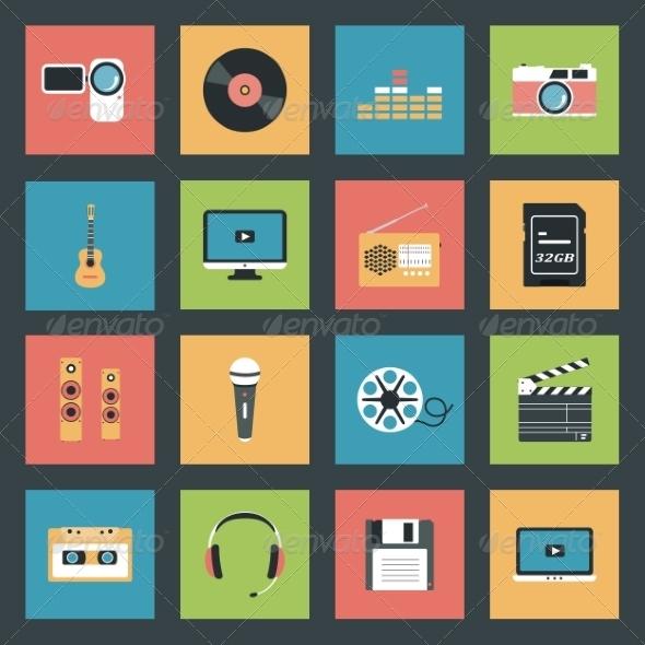 GraphicRiver Multimedia Icons Set 8321786
