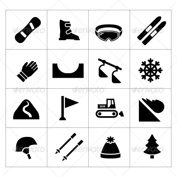 Set Icons of Skiing and Snowboarding