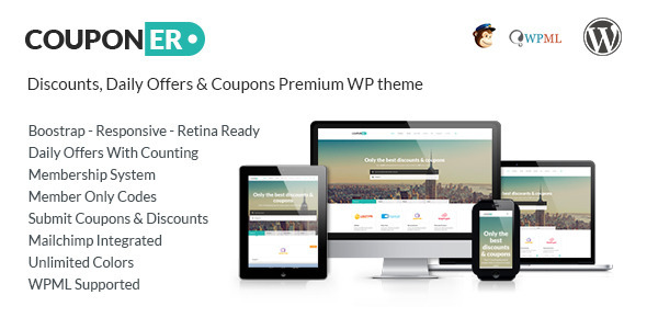 ThemeForest Couponer Coupons & Discounts WP Theme 8322172
