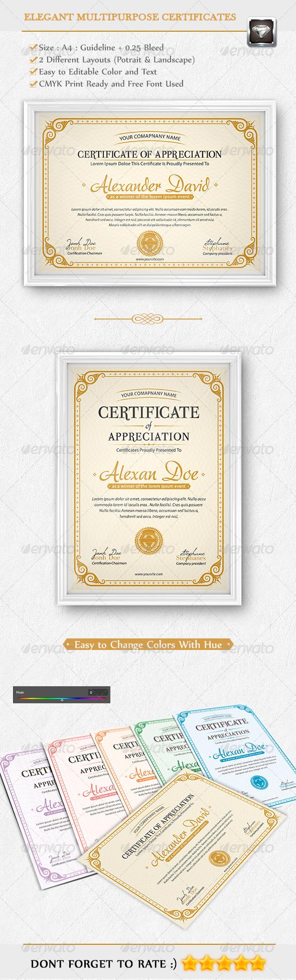 Elegant Multipurpose Certificates