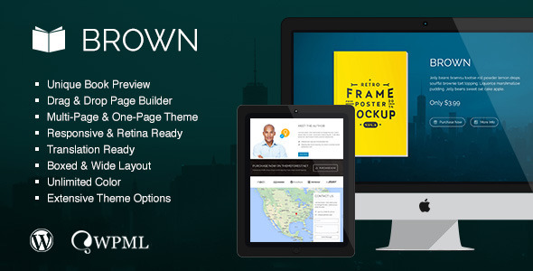 Brown - Responsive WordPress Theme for eBook - Marketing Corporate