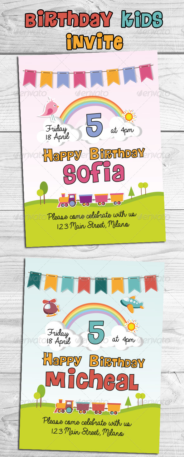 GraphicRiver Birthday Kids Invite 8323092