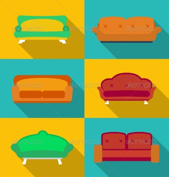 GraphicRiver Set of Modern Sofa Icons 8323601
