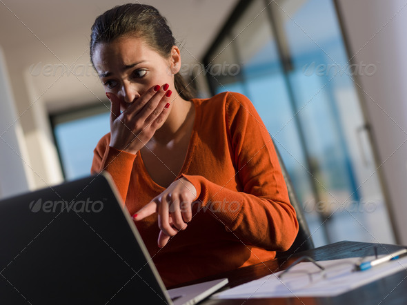 young business woman working on laptop computer  - Stock Photo - Images
