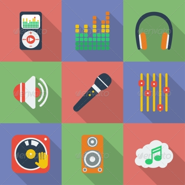 GraphicRiver Set of Music Themed Icons 8324144