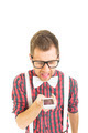 Funny young nerd man yelling on the phone - PhotoDune Item for Sale