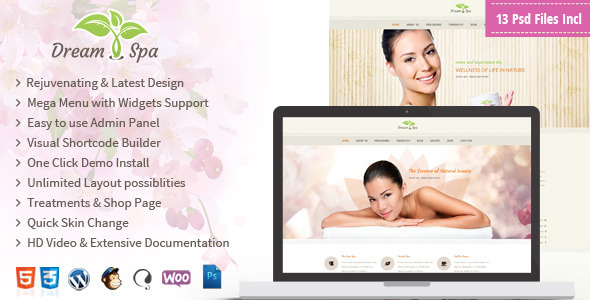 ThemeForest Dream Spa Responsive Beauty Salon WP Theme 8324159