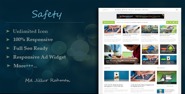 ThemeForest Safety Responsive Multi-Purpose Blogger Template 8292772