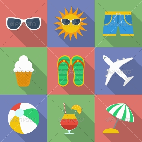 GraphicRiver Set of Summer and Travel Icons 8324256