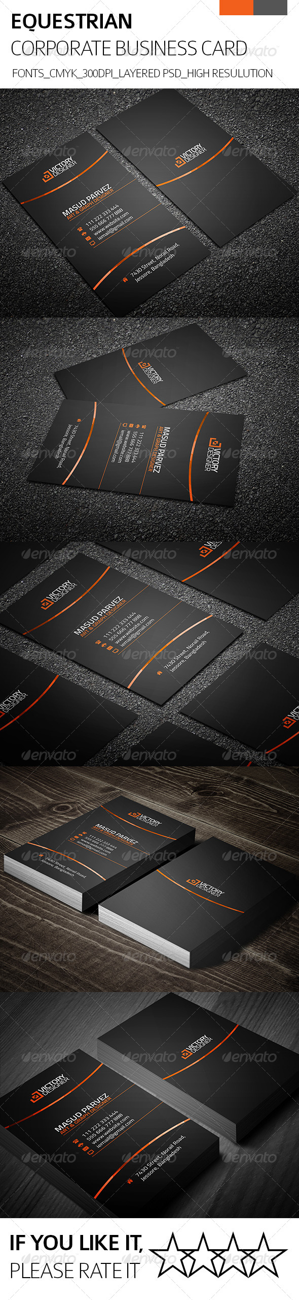 GraphicRiver Equestrian & Corporate Business Card 8324297