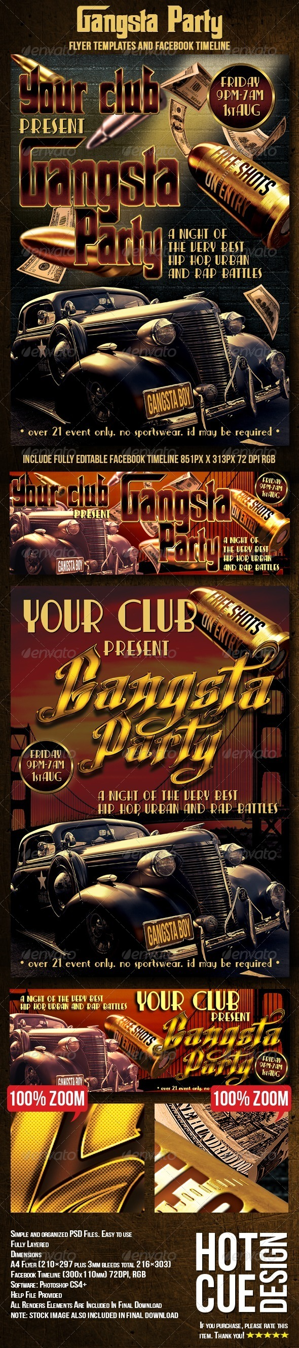 GraphicRiver Gangsta Party Flyer Ticket & Facebook Timeline 8079404