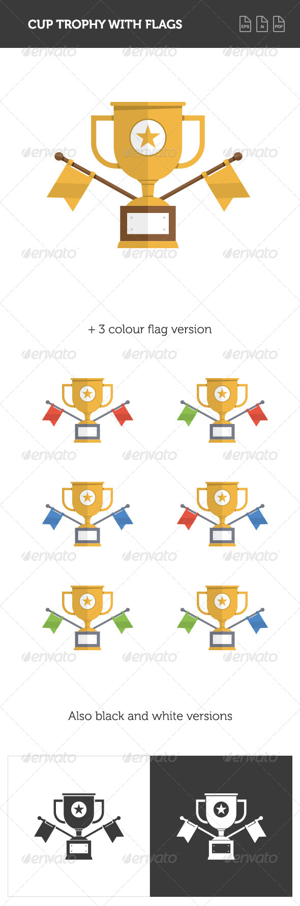 GraphicRiver Trophy Cup with Flags 8324617